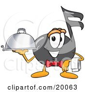 Music Note Mascot Cartoon Character Dressed As A Waiter And Holding A Serving Platter
