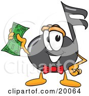 Clipart Picture Of A Music Note Mascot Cartoon Character Holding A Dollar Bill by Toons4Biz