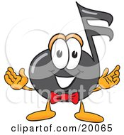 Poster, Art Print Of Music Note Mascot Cartoon Character With Welcoming Open Arms