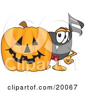 Music Note Mascot Cartoon Character With A Carved Halloween Pumpkin