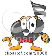 Music Note Mascot Cartoon Character Looking Through A Magnifying Glass