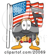 Music Note Mascot Cartoon Character Pledging Allegiance To An American Flag
