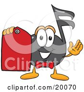 Music Note Mascot Cartoon Character Holding A Red Sales Price Tag