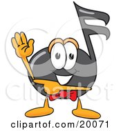 Clipart Picture Of A Music Note Mascot Cartoon Character Waving And Pointing by Toons4Biz