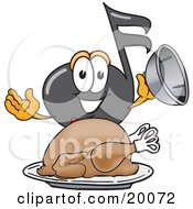 Clipart Picture Of A Music Note Mascot Cartoon Character Serving A Thanksgiving Turkey On A Platter by Toons4Biz