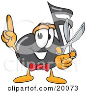 Clipart Picture Of A Music Note Mascot Cartoon Character Holding A Pair Of Scissors