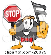 Music Note Mascot Cartoon Character Holding A Stop Sign
