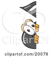 Music Note Mascot Cartoon Character Peeking Around A Corner
