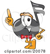 Clipart Picture Of A Music Note Mascot Cartoon Character Pointing Upwards by Toons4Biz