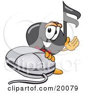 Clipart Picture Of A Music Note Mascot Cartoon Character With A Computer Mouse