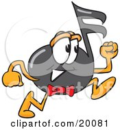 Clipart Picture Of A Music Note Mascot Cartoon Character Running by Toons4Biz