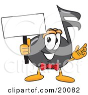 Music Note Mascot Cartoon Character Holding A Blank Sign