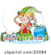 Clipart Illustration Of A Confused Elf Tangled In Unorganized Christmas Lights