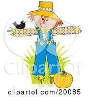 Clipart Illustration Of A Black Bird Resting On A Happy Scarecrows Arm As He Guards A Pumpking Patch For Halloween by Maria Bell