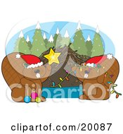 Clipart Illustration Of A Cute Pair Of Brown Beavers Wearing Santa Hats Decorating Their Dam With Christmas Lights Baubles And A Star On A Snowy Winter Day by Maria Bell