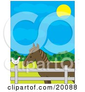 Clipart Illustration Of A Brown Horse In A Fenced Pasture Talking To A White Hen On A Farm On A Sunny Day by Maria Bell