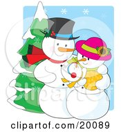 Clipart Illustration Of A Happy Snow People Family Of A Snowman Snow Woman And Snow Baby Standing Outside On A Snow Winter Day by Maria Bell