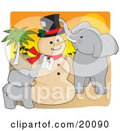 Clipart Illustration Of A Cute Elephant Family Creating A Sand Man Resembling A Picture Of A Snowman For Christmas In The Sahara