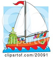 Clipart Illustration Of A Humorous Scene Of A Sailing Sailboat With Hung Stockings A Wreath Around The Window And Gifts Under A Christmas Tree
