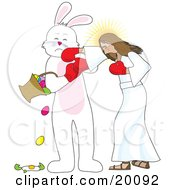 Clipart Illustration Of Jesus Boxing With The Easter Bunny Socking Him In The Face As He Spills And Breaks Eggs From A Basket by Maria Bell