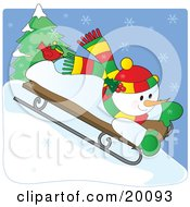 Clipart Illustration Of A Happy Snowman In A Colorful Hat And Scarf Riding Downhill On A Sled On A Snowy Winter Day With A Red Cardinal Bird On His Foot by Maria Bell