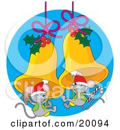 Clipart Illustration Of A Cute Pair Of Gray Christmas Mice Wearing Santa Hats And Holding Gingerbread Cookies And Candy Canes While Swinging On Golden Jingle Bells Decorated With Holly
