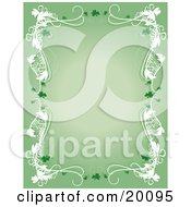 Green St Patricks Day Stationery Background With A White Border And Clovers