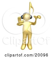 Clipart Illustration Of A Golden Person With A Music Note Head Listening To Tunes Through Headphones