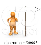 Clipart Illustration Of An Orange Person Rubbing His Chin And Considering Changing His Direction In Life