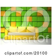 Yellow Couch With Three Pillows And A White Seat Against A Green And Orange Cubed Wall In A Living Room Or Office Lobby