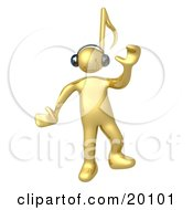 Happy Golden Person With A Music Note Head Dancing While Listening To Tunes Through Headphones