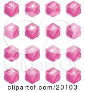 Clipart Illustration Of A Collection Of Pink Cube Icons Of A Microphone Tv Cam Corder Music Notes Film Reel Film Camera Polaroid Picture Record Player Clapboard Sound Off Sound On Film Speaker And Guitar