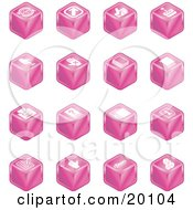 Clipart Illustration Of A Collection Of Pink Cube Icons Of Arrows Joystick Button Printer Information Compose Reminder Calculator And Cubes