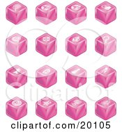 Clipart Illustration Of A Collection Of Pink Cube Icons Of Searches View Finders Www Magnifying Glasses Dogs Flashlight And Spider by AtStockIllustration