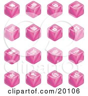 Clipart Illustration Of A Pink Cube Icons Of A Fortress Brick Wall Padlocks Shopping Cart Castle Basket Credit Card And Key