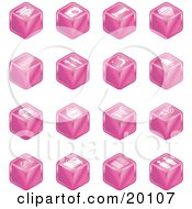 Clipart Illustration Of A Collection Of Pink Cube Icons Of Tickets Camera Bed Hotel Bus Restaurant Moon Tree Building Shopping Bags Shopping Cart Bike Wine Glasses Luggage Train Tracks Road And Restrooms