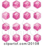 Clipart Illustration Of A Pink Cube Icons Of Charts Connections Computers Wireless Cables And Communications