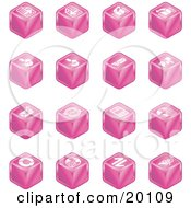 Clipart Illustration Of A Collection Of Pink Cube Icons Of Page Forward Page Back Upload Download Email Snail Mail Envelope Refresh News Www Home Page And Information by AtStockIllustration