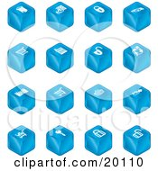 Clipart Illustration Of A Blue Cube Icons Of A Fortress Brick Wall Padlocks Shopping Cart Castle Basket Credit Card And Key by AtStockIllustration