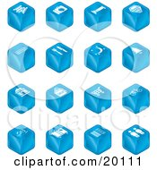 Clipart Illustration Of A Collection Of Blue Cube Icons Of Tickets Camera Bed Hotel Bus Restaurant Moon Tree Building Shopping Bags Shopping Cart Bike Wine Glasses Luggage Train Tracks Road And Restrooms