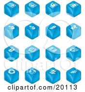 Clipart Illustration Of A Collection Of Blue Cube Icons Of Page Forward Page Back Upload Download Email Snail Mail Envelope Refresh News Www Home Page And Information