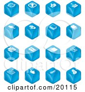 Clipart Illustration Of A Collection Of Blue Cube Icons Of Arrows Joystick Button Printer Information Compose Reminder Calculator And Cubes