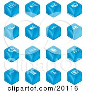 Clipart Illustration Of A Blue Cube Icons Of Charts Connections Computers Wireless Cables And Communications