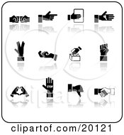 Clipart Illustration Of A Collection Of Black Hand Gestures On A White Background