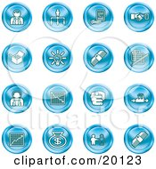 Clipart Illustration Of A Collection Of Blue Business Icons Of Business People Management Hand Shake Lightbulb Cash Charts And Money Bags