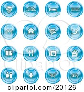 Clipart Illustration Of A Collection Of Blue Icons Of A Hotel Road By Train Tracks Bed Bus Wine Glasses Tickets Moon Luggage Diner Camera Shopping Restrooms Tree Shopping Carts And Bicycle
