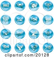 Clipart Illustration Of A Collection Of Blue Icons Of A Big Rig Paint Roller Cogs Oil Turbines Ship Saw Wrench Pliers Shovel Hammer Gardening And Brick Laying