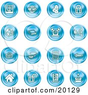 Clipart Illustration Of A Collection Of Blue Icons Of A Polaroid News Cubes Padlock Www Search Book Alarm Clock Connectivity Messenger Speaker Calculator Home Blog And Joystick
