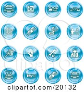 Clipart Illustration Of A Collection Of Blue Icons Of Cars A Log Cash Lemon Dealer Ads Key Wrench Engine Handshake And Money