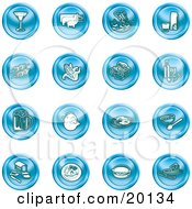 Clipart Illustration Of A Collection Of Blue Food Icons Of A Martini Pigs Fish Juice Kebobs Corn Wine Beer Chicken Breakfast Fruit Bread Meal Burger And Cheese by AtStockIllustration